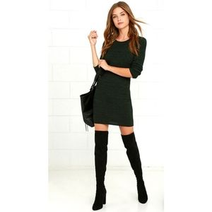Obey Long Sleeve Bodycon Dress in Forest Green
